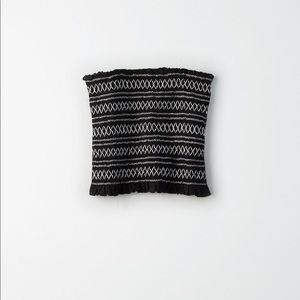 American Eagle Black and White Smocked Tube Top